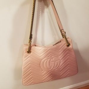 Gucci Bags - Gucci Marmont Gg Medium Pink Leather Tot